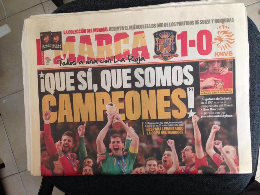 Portada del diario Marca del 12 de julio de 2010