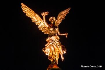 El Ángel de la Independencia luce siempre espectacular por las noches, pero a veces hay que ayudarse de un buen lente para observar los detalles.