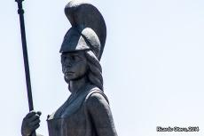 Detalles del rostro de La Minerva, el monumento más emblemático de Guadalajara.
